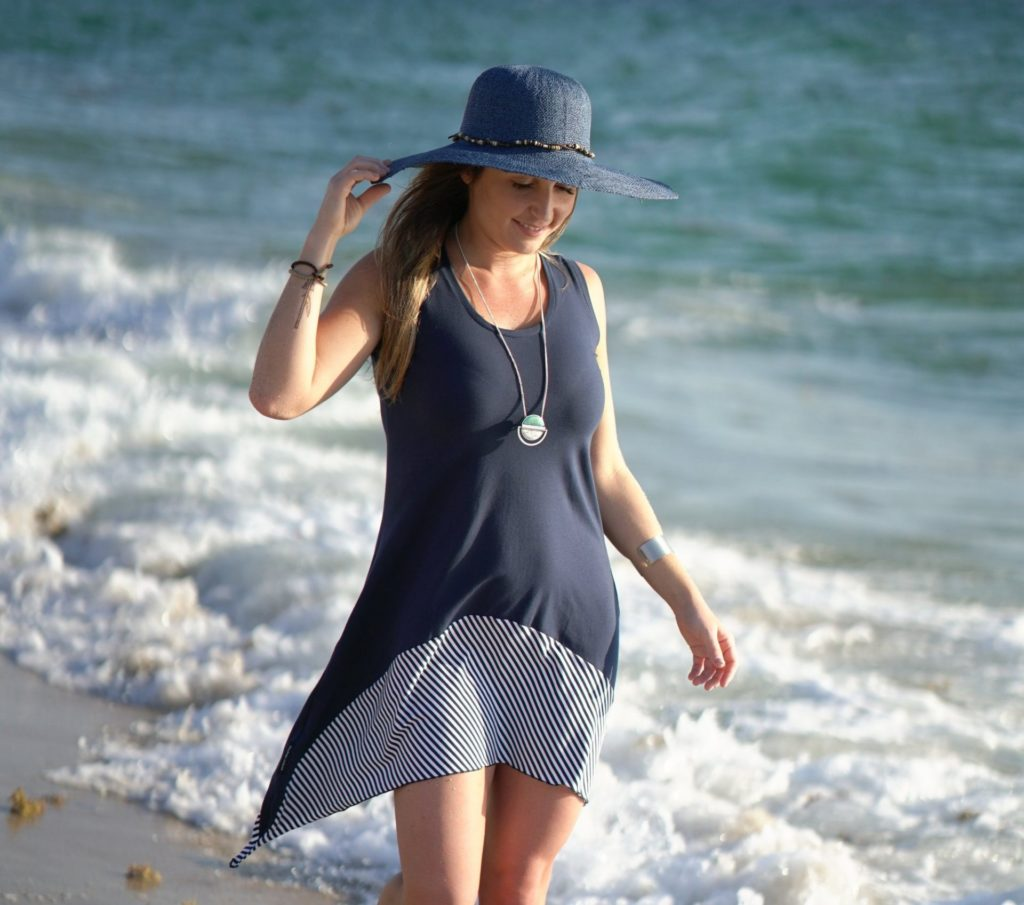 Jazzy Diversion Dress in Navy with Navy/White Striped Skirt Detail2