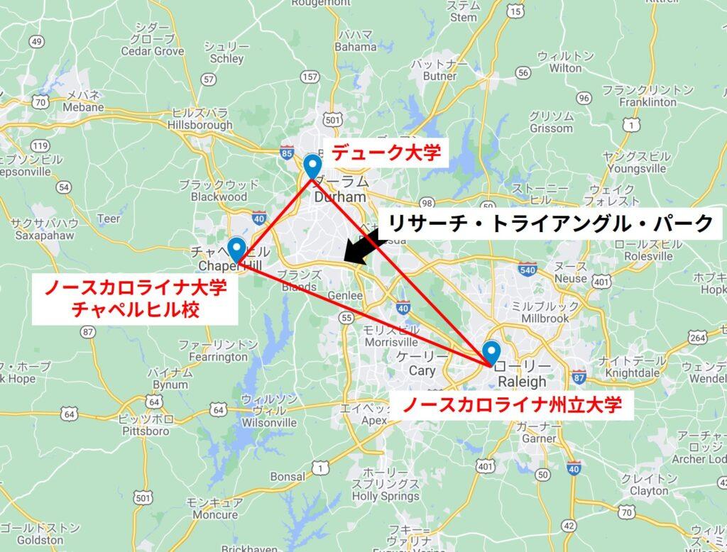 リサーチ・トライアングル・パークの地図